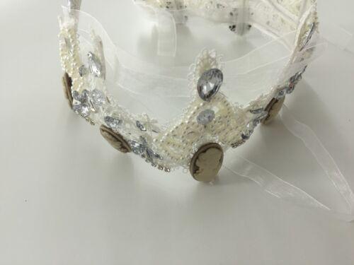 Women Flower Girl White Lace Wedding Hair Headband head Crown Tiara Prop Hoop