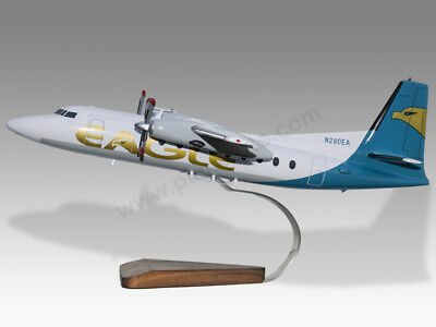 Models Candid Fokker F-27-500 Eagle Airlines Kiln Dry Mahogany Wood Handmade Desktop Model