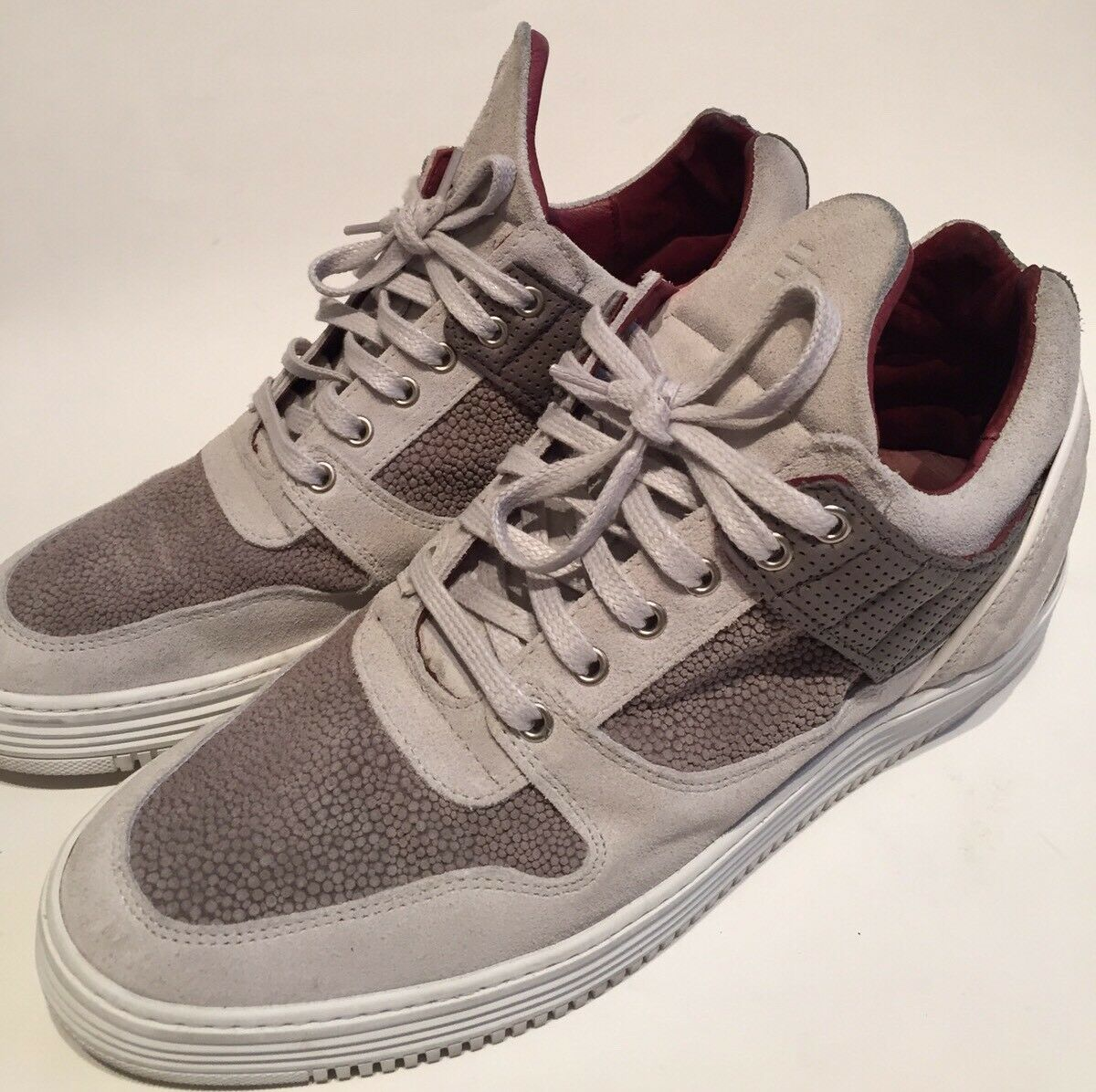 Filling Pieces Low Top Perforated Perforated Perforated Grey Suede Maroon Leather EU43 US10 3c81cc