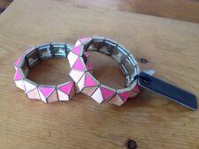 NEW Pair J Crew Pyramid Stud Metal Enamel Pink Punk Stretch Bracelet Bangles NWT
