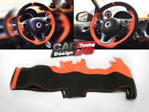 Image Is Loading Car Orange Leather Steering Wheel Wrap Cover For