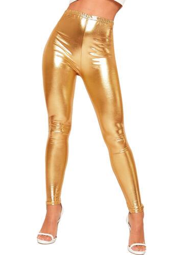 Femme Brillant Métallisé Imprimé Taille Haute Pantalon Disco Leggings Femmes stretch