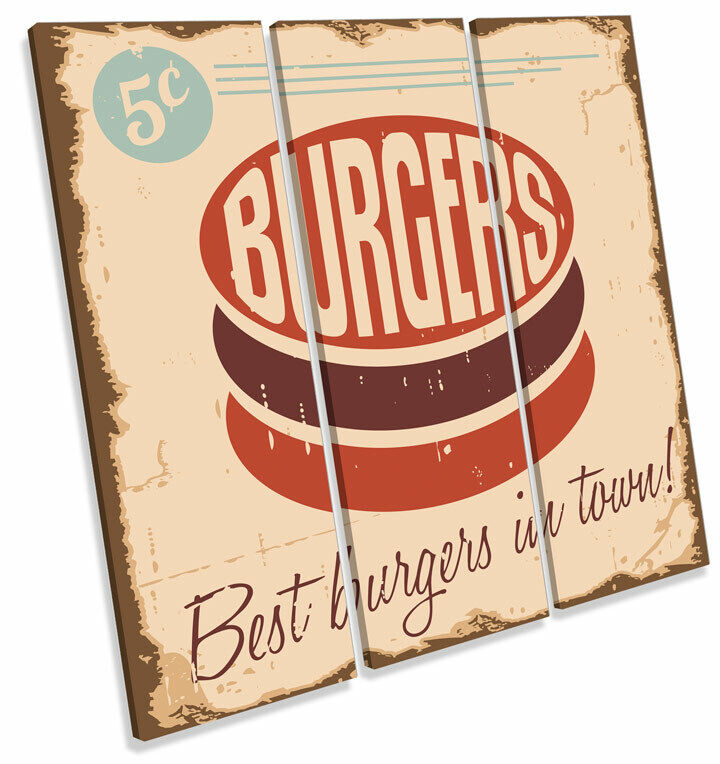 Best Burgers in Town Retro TREBLE toile WALL ART Square Print Picture