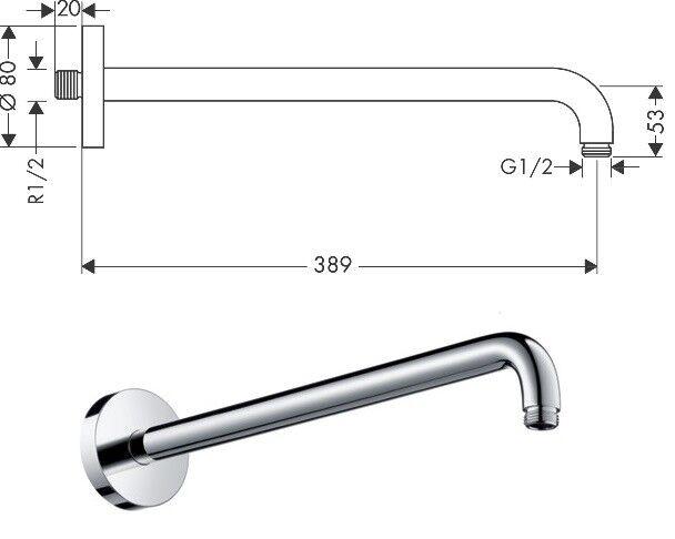 HANSGROHE Shower Arm 389mm 38.9cm Chrome BNIB 27413000 rrp