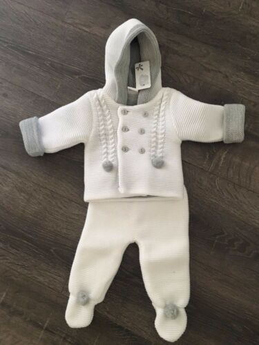 Baby babies boy boys girl girls knitted pram suit white grey pink hooded outfit