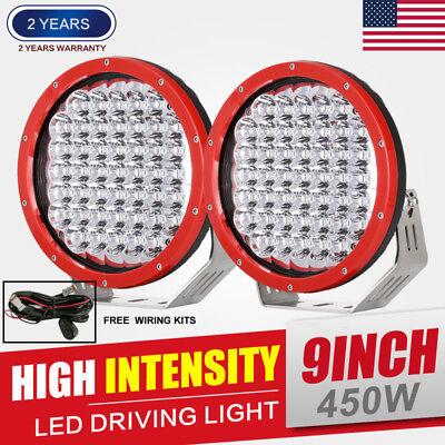 2pcs 9inch 96W Red Round Cree LED Driving Spot Lights UTE TRUCK SUV OffRoad Watt