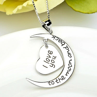 "925 Sterling Silver Moon Heart Necklace 18""-""I Love You to the Moon and Back"""
