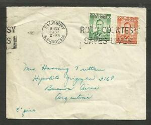BRITISH-1951-SOUTHERN-RHODESIA-COVER-TO-ARGENTINA-sALISBUTY-CANCEL