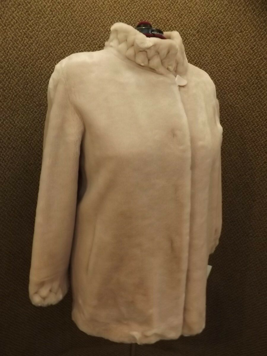 Luxurious Olympia NEW NWT Plush Pale Pink Soft Faux Fur Pantcoat Coat Womens 1X
