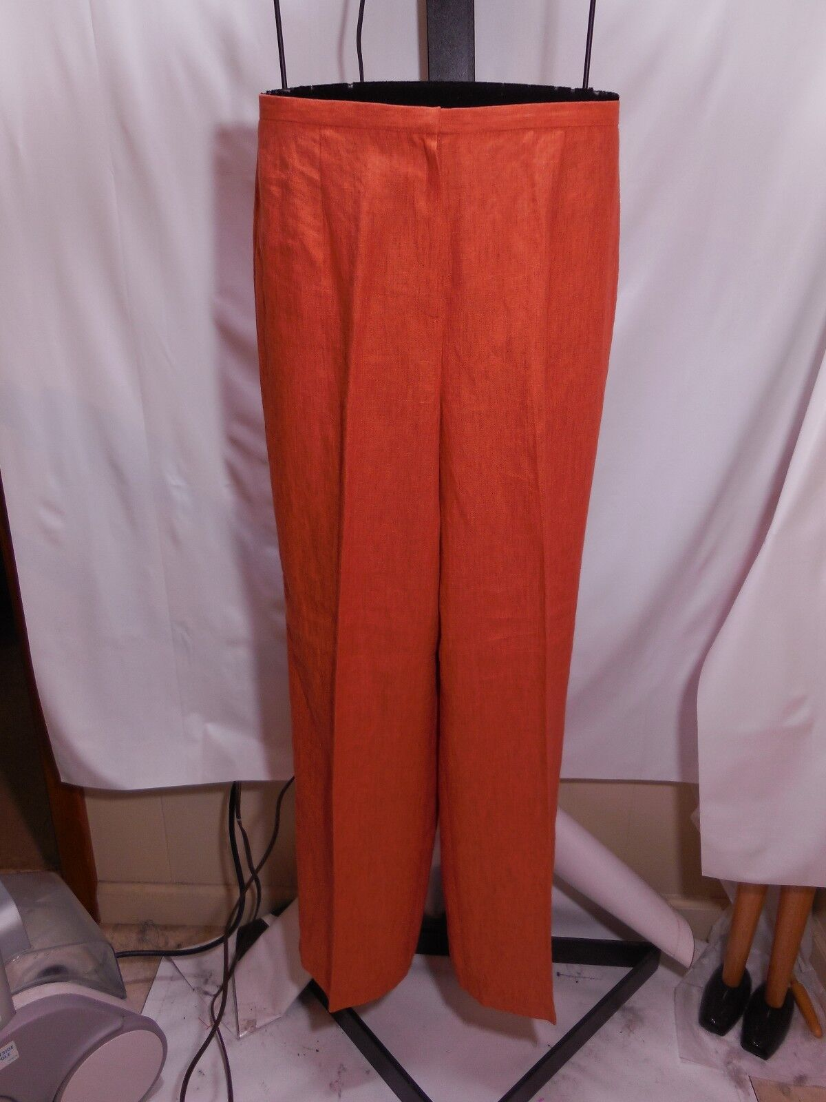 MISSES BURNT orange 100% LINEN PANTS TALBOTS 10