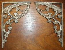 PR antique 1920s 30s ITALIAN DECO NOUVEAU BRONZE silver finish SHELF BRACKETS !