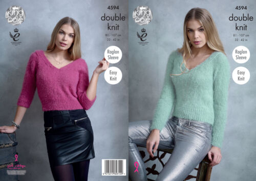 Easy Knit Ladies Raglan Sleeve Jumper Sweater Knitting Pattern King Cole DK 4594