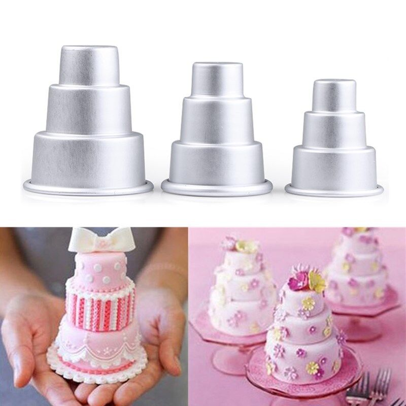 3 Size Mini 3 Tier Baking Pan Cake Tins Pudding Muffin Bakeware Mould