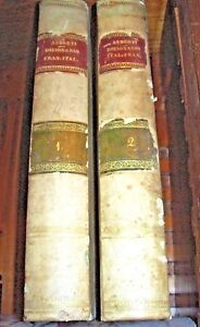 DIZIONARIO-antico-libro-1835-italiano-francese-DICTIONNAIRE-D-039-Alberti-2-old-book