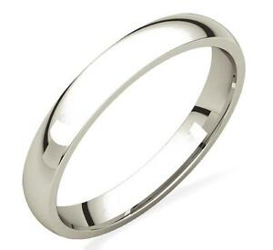 Ladies-10K-White-Gold-Wedding-Band-Plain-Domed-Ring-3mm-Wide-Comfort-Fit-Edge