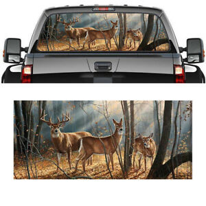 Pickup-Truck-SUV-Car-Rear-Window-Graphic-Decal-Tint-Print-Sticker-Deer-Animals
