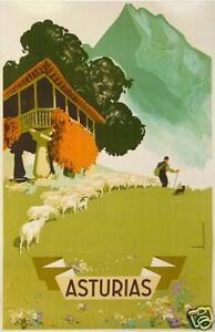 Morell poster tourism old spain Asturias-Asturias circa 1946