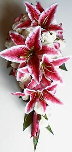 Dark pink lily rose pink orchid flower shower diamante teardrop image is loading dark pink lily rose pink orchid flower shower mightylinksfo