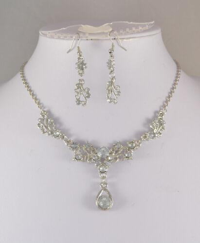 Tono Plata Claro Cristal Lágrima Collar Conjunto Pequeño