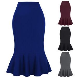High-Waist-Skirts-Midi-calf-Fishtail-Causal-Stretch-Pencil-Skirt-Mermaid-Bodycon