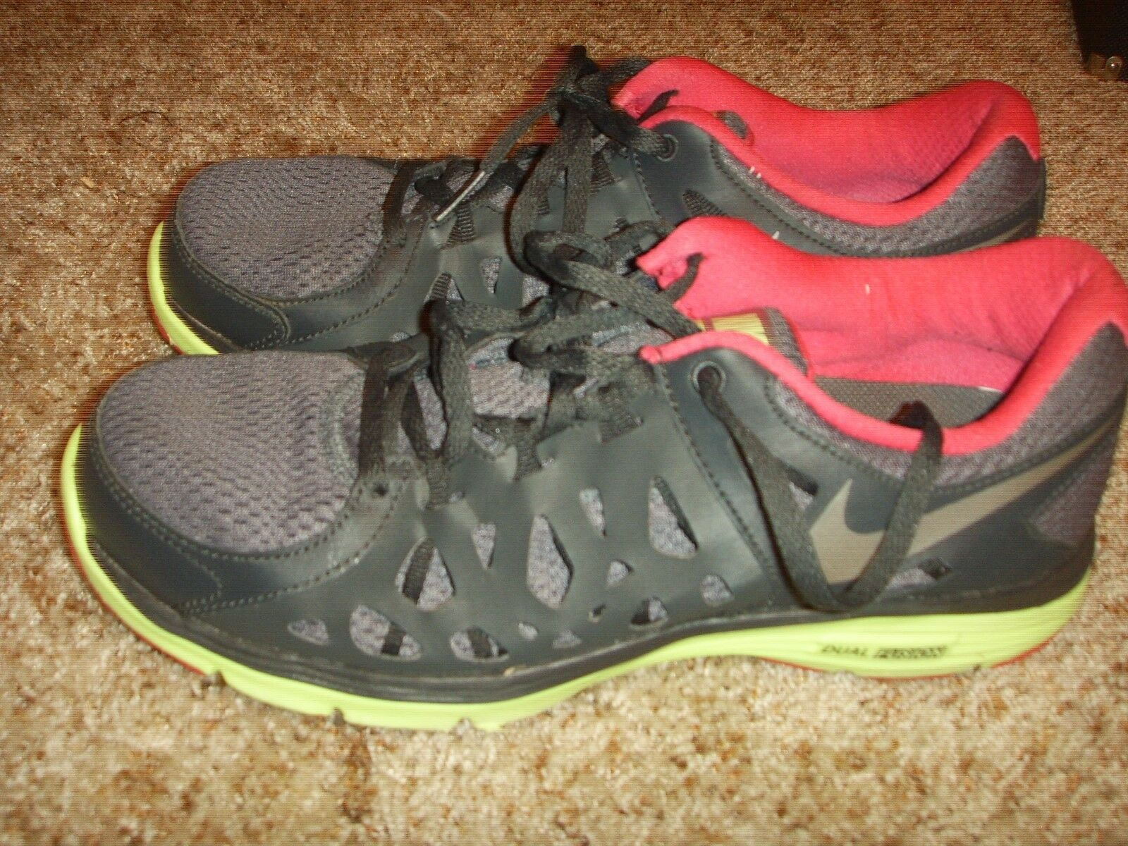 NIKE 599564-009 Dual Fusion Run 2 Dark Gray Pink Volt Womens Comfortable The latest discount shoes for men and women