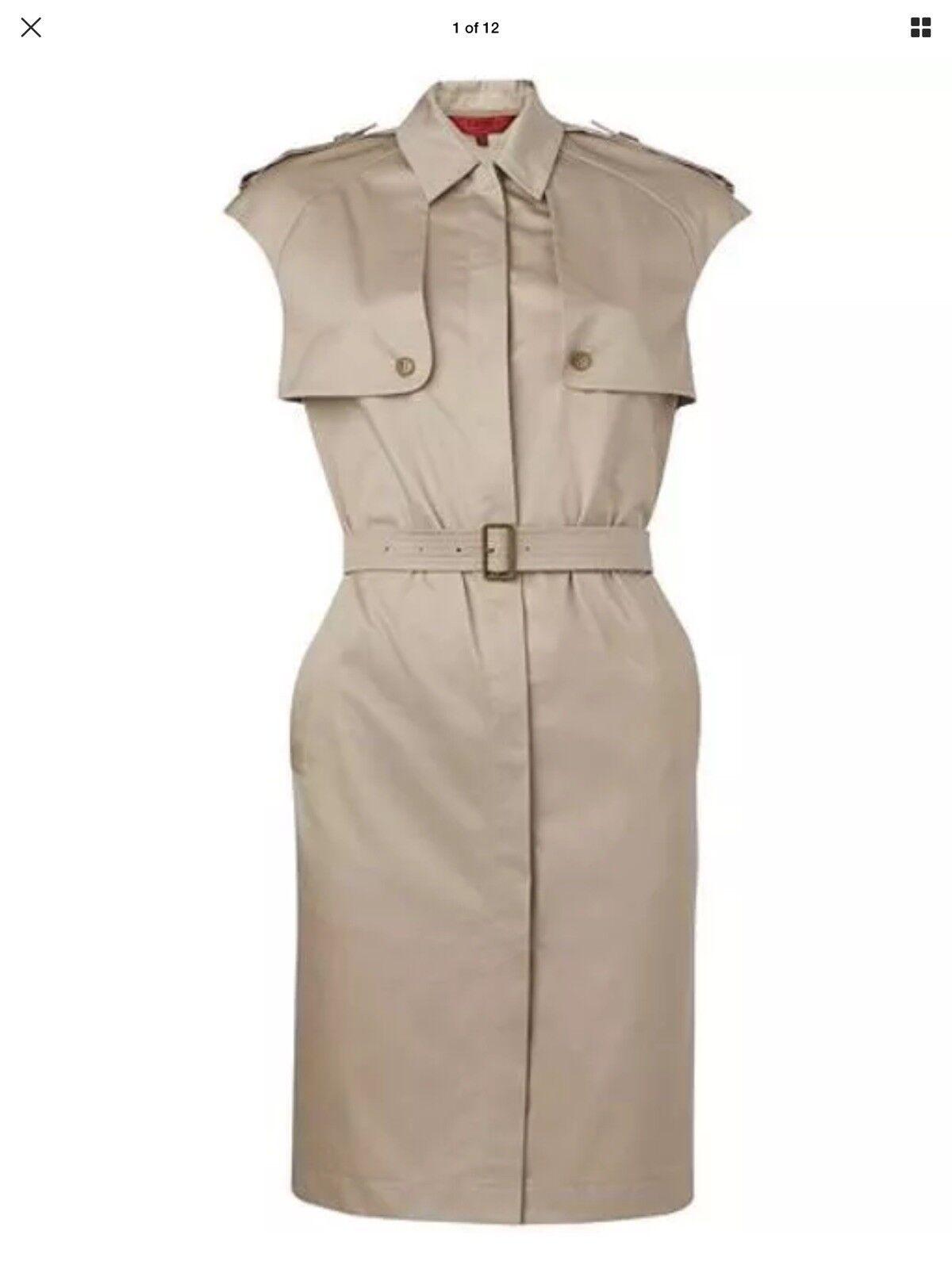 Lk Bennett London Amanda Sleeveless Beige Mili 100% Cotton Dress Größe-14 BNWOT