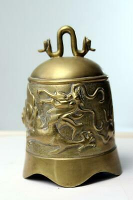 8AF5 China Buddhism Temple Brass Copper Carved Statue Buddha Dragon Bell Clock*