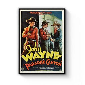 Vintage John Wayne Film Advert Retro Decor Art Poster Print Artwork Framed