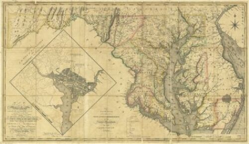 1794 MD MAP Layhill Leonardtown Lonaconing Long Beach Lusby Genealogy SURNAME