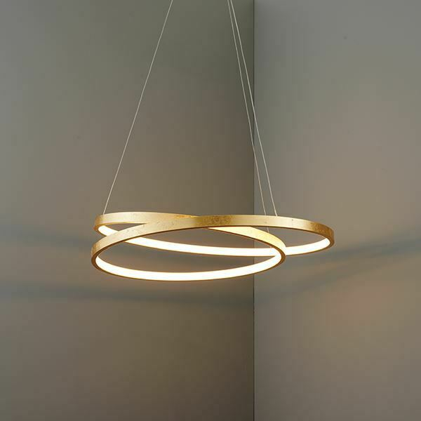 Endon Scribble Ring Pendant Ceiling Light Gold Leaf Frosted 33W LED Warm Weiß