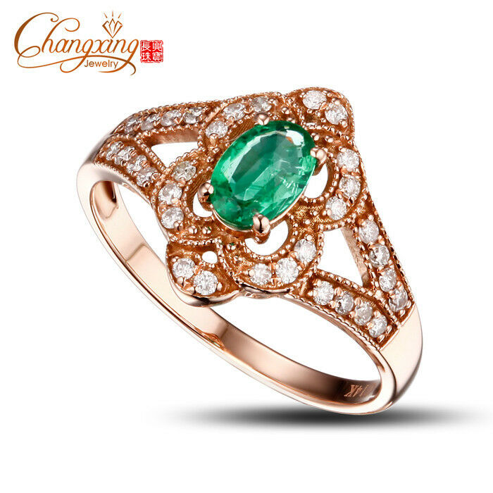 14k pink gold Oval 0.49ct Natural Emerald Diamond Engagement Ring