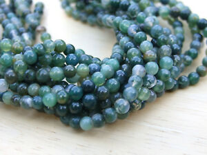 Moss-Agate-Natural-Gemstone-Round-Beads-4mm-Jewellery-Making-47-50-Beads