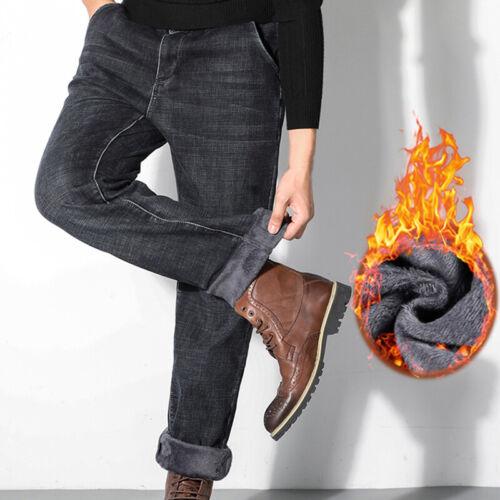 Herren Winter Warm Thick Thermal Jeans Fleece gefütterte Denim Hosen Hosen