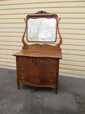 57691 Antique Oak Serpentine front dresser with Mirror