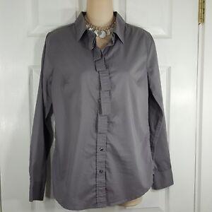 GAP-Small-Womens-Gray-Button-Up-Down-Ruffle-Front-Long-Sleeve-Blouse-Shirt-Top