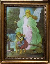 """Guardian Angel with Children on Bridge - Ornate Gold  Framed picture -8"""" x 10"""""""