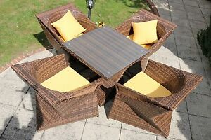 Image Is Loading HighGate 4 Seater Rattan Garden Furniture Set