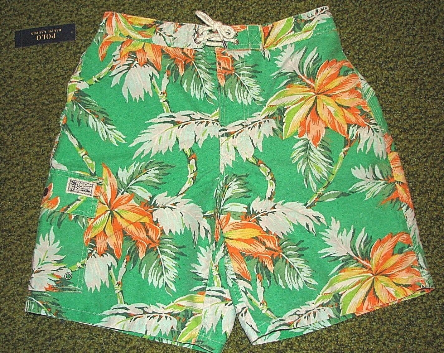 Men's  (M) POLO-RALPH LAUREN Cargo TROPICAL Swim  Board Shorts  Trunks