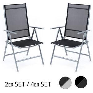 Dettagli su 2er O. 4er Set Sedia pieghevole da campeggio sedia con  schienale alto sedia da giardino alluminio Outdoor- mostra il titolo  originale