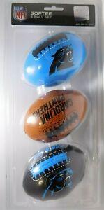 Softee-3-Ball-Set-Of-Carolina-Panthers-NFL-Mini-Soft-Footballs-New-amp-Sealed