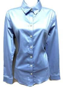 e06fb1fa BANANA REPUBLIC Fitted Blue Non-Iron Womens Button Down Shirt TOP 8 ...