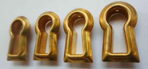 4 Vintage Stamped Brass Insert Keyhole Covers Escutcheon New Old Stock