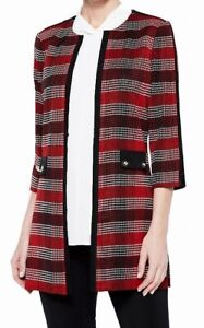 Ming Wang Women's Jacket Red Size XS Plaid Button Tunic Elbow Sleeve $295 #403