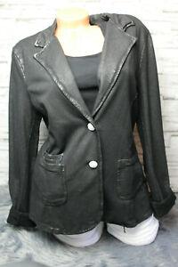 Italy-Blazer-Jacke-schwarz-Vintage-Gr-36-38-40-42-44-Leder-Look-blogger-NEU