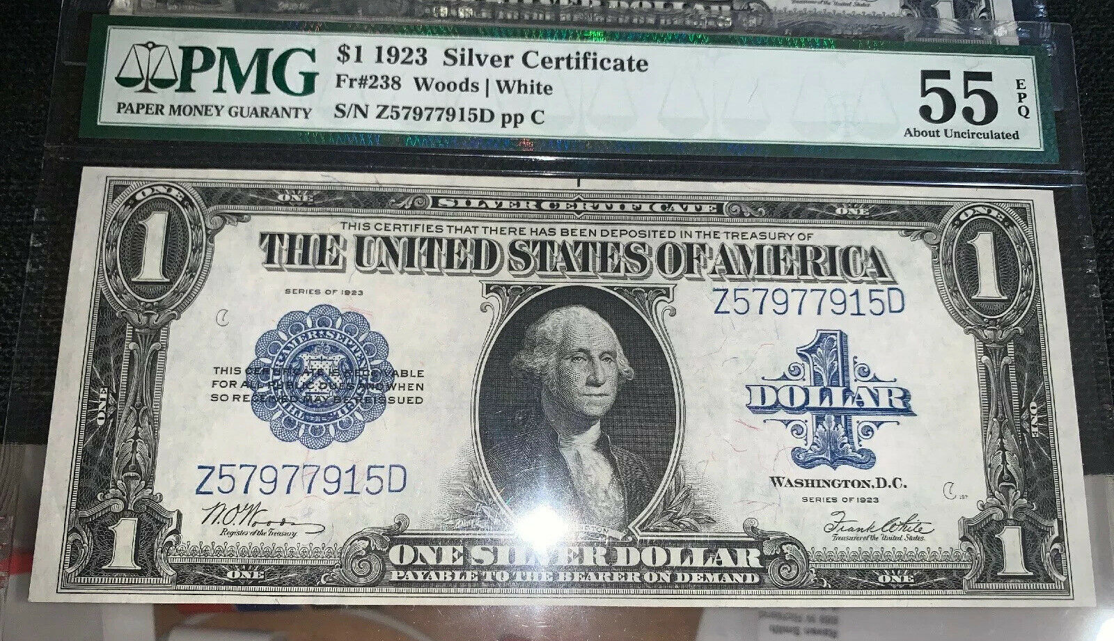 3 Sequential $1 1923 Silver Certificates Fr#238 PMG 55-63 AH