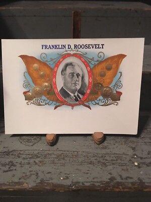 FDR PRESIDENT FRANKLIN DELANO ROOSEVELT INNER CIGAR BOX LABEL ORIGINAL 1940/'s