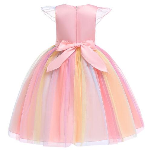 Fashion Costume Flower Girl Unicorn Tutu Dress Rainbow Princess Birthday Party