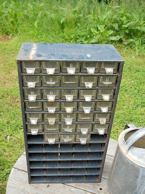 Vintage Powr Kraft Montgomery Ward Industrial Tool Box Cubby Hole Metal Chest Ebay