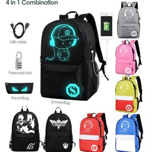 3ec9454b06d Kids Luminous Backpack Glow In the Dark With USB Charger Boy Casual ...