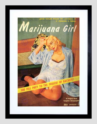 VINTAGE AD NOVEL COVER FOULEST RACKETS MARIJUANA GIRL FRAMED PRINT B12X12408